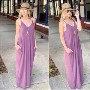 Eggplant V Neck Cami Maxi Dress